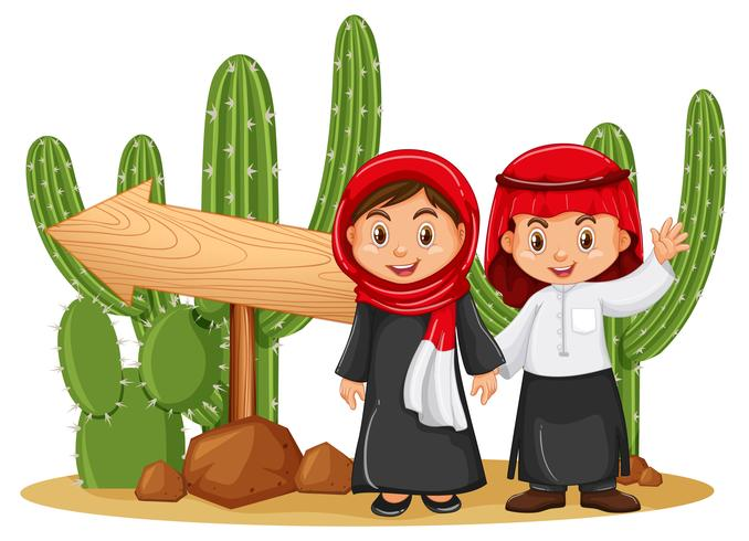 Two islamic kids by the wooden sign