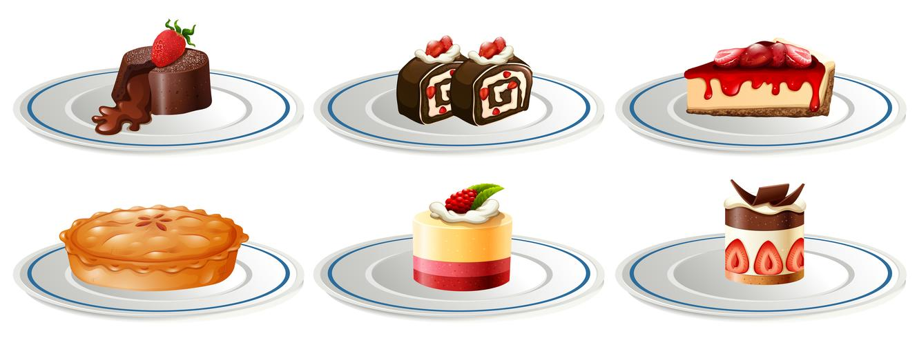 Different kinds of desserts on plates vector