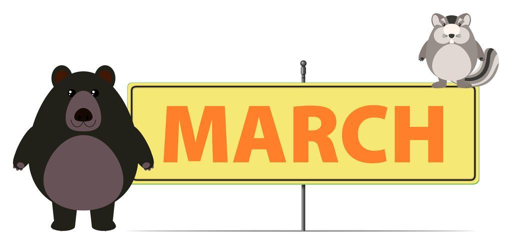 Signo de marzo con oso y ardilla vector