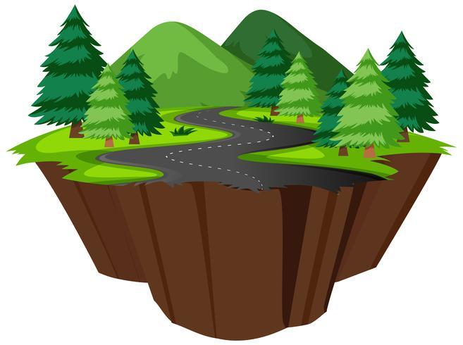 Isla aislada de la carretera de la naturaleza. vector