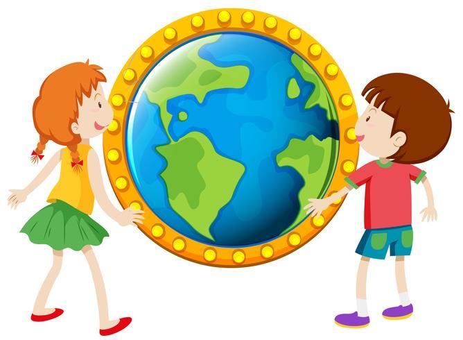 Pojke och tjej tittar på jordklotet