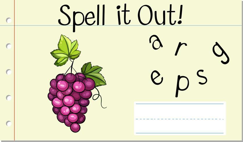 Deletrear la palabra inglesa uva vector