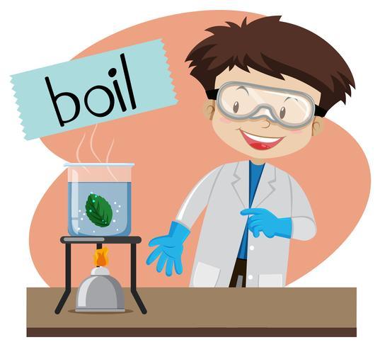 Wordcard per bollire con il ragazzo che fa il laboratorio di scienze vettore