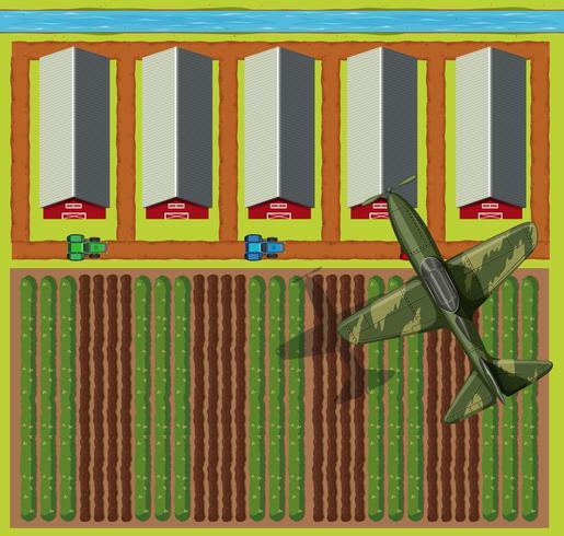 Vista superior de las tierras de cultivo y avión vector