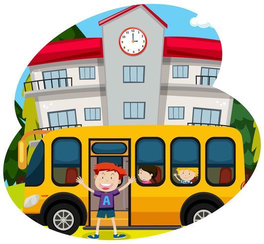 Niño feliz de un autobús escolar vector