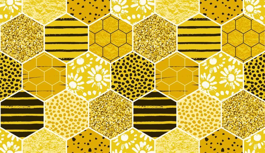 Seamless geometrisk mönster med bi. Modern abstrakt honungsdesign.