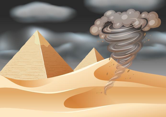 Tornado in desert scene
