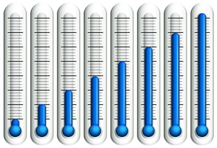 Thermometer met blauwe vloeistof