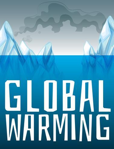 Señal de calentamiento global con el derretimiento del hielo vector