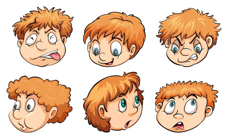 Faces with different emotions vector