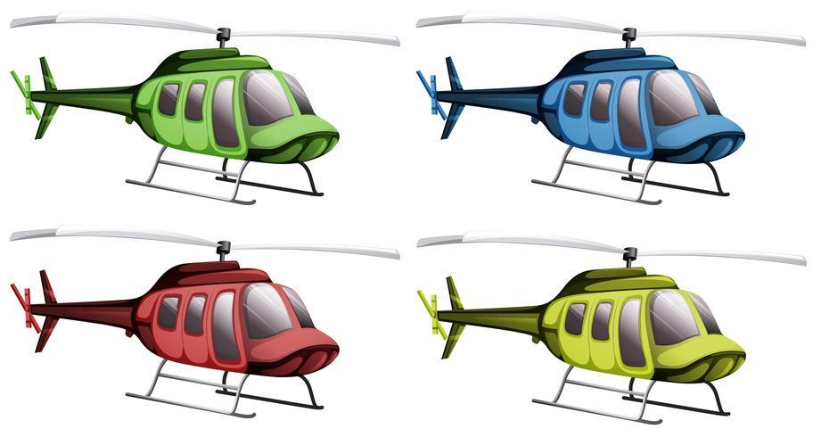 Hélicoptères de quatre couleurs différentes