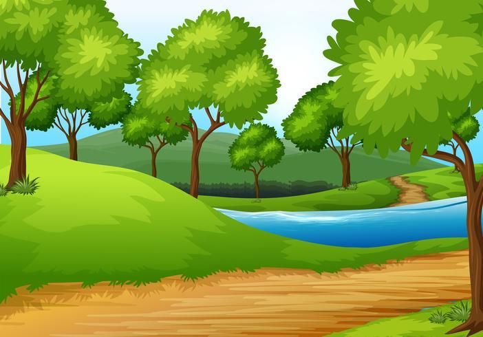 Un hermoso paisaje natural. vector