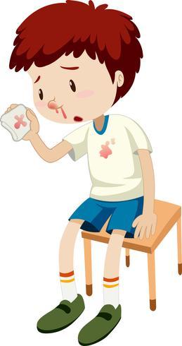 Un niño sangrando la nariz vector