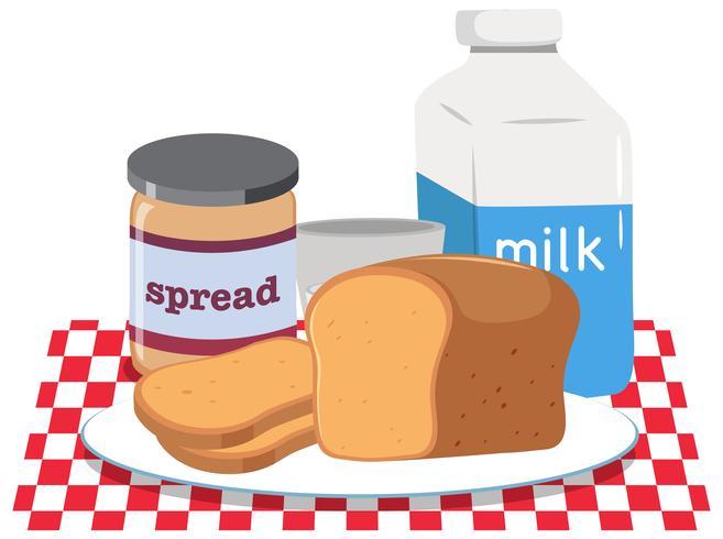 A breakfast set on white background