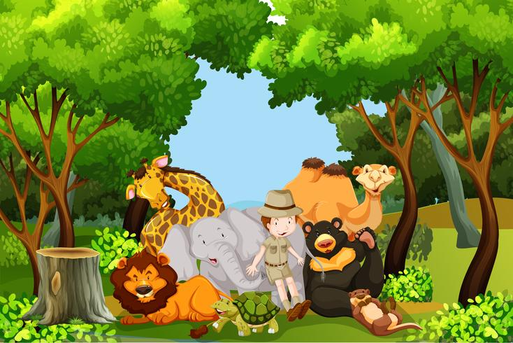 A zoo keeper with animals vector