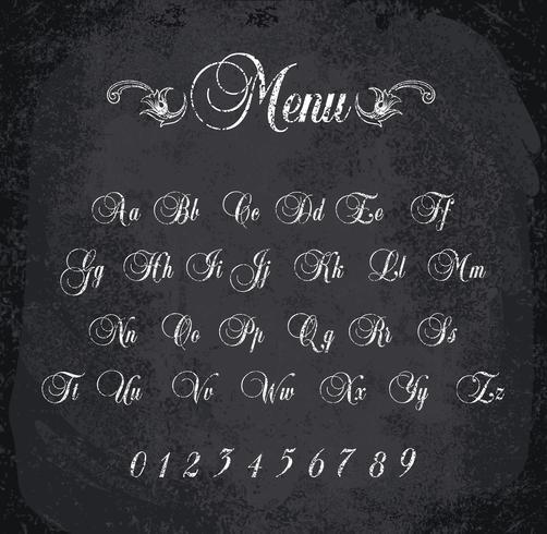 Vektorillustration des mit Kreide versehenen Alphabetes. vektor
