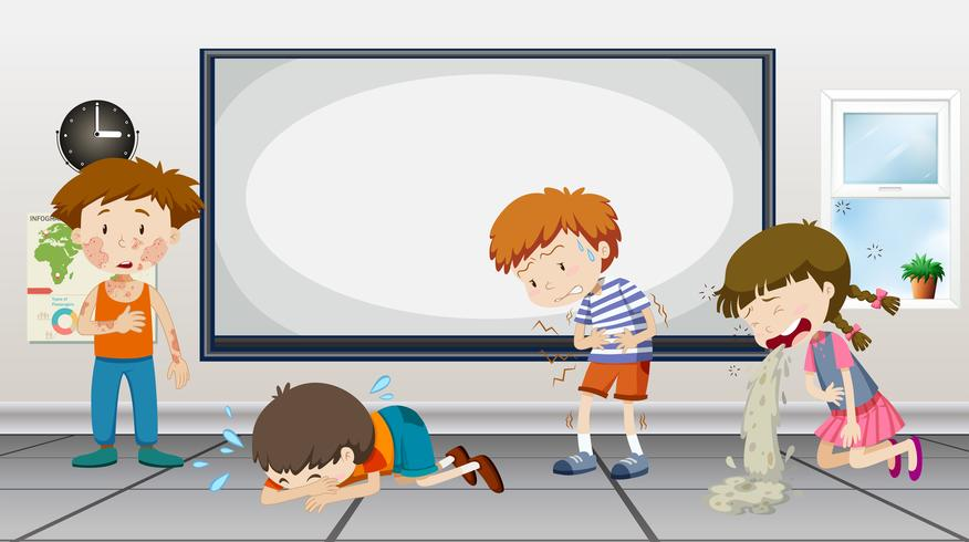 Pojkar och tjejer är sjuka i klassrummet