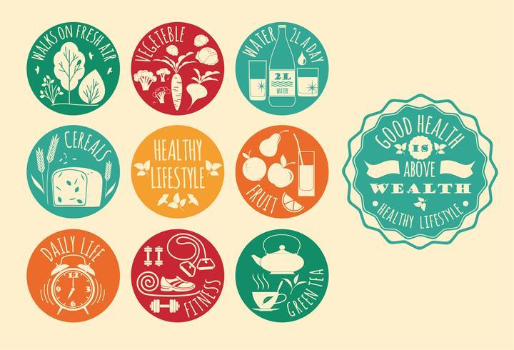 Conjunto de iconos de estilo de vida saludable vector