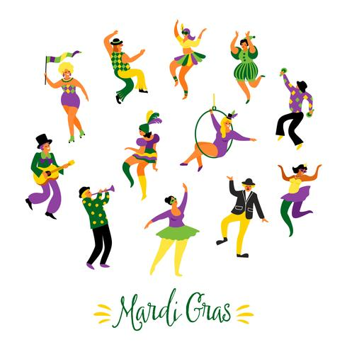 Mardi Gras. Ilustración vectorial de divertidos hombres y mujeres bailando en trajes brillantes vector
