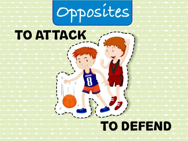 Opposite words for attack and defend vector