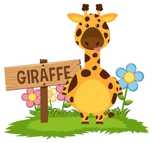 Girafe mignonne dans le jardin