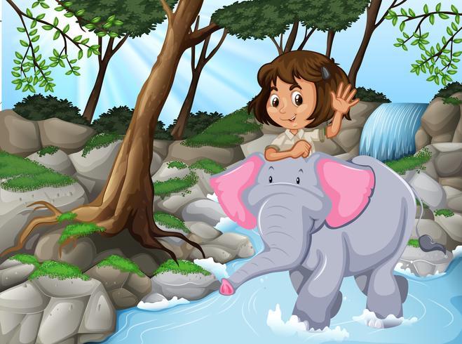 menina, montando, elefante, selva, cena