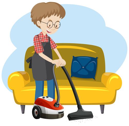 A Man Cleaning the House