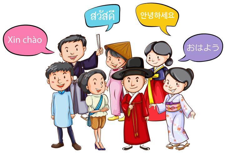 Mensen die in verschillende talen begroeten