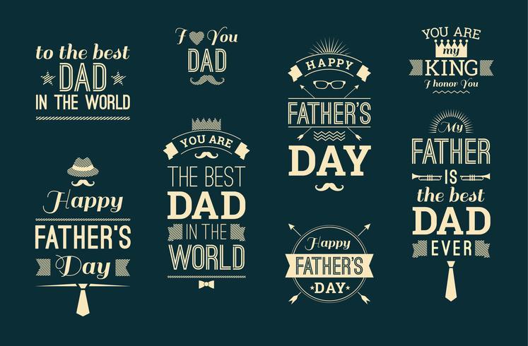 Colección feliz del diseño del día de padre en estilo retro.