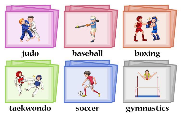 8b92ba48d Wordcards para seis esportes diferentes - Download Vetores e ...