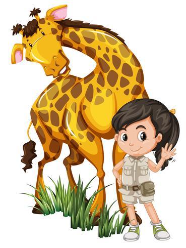 Una chica safari con jirafa vector
