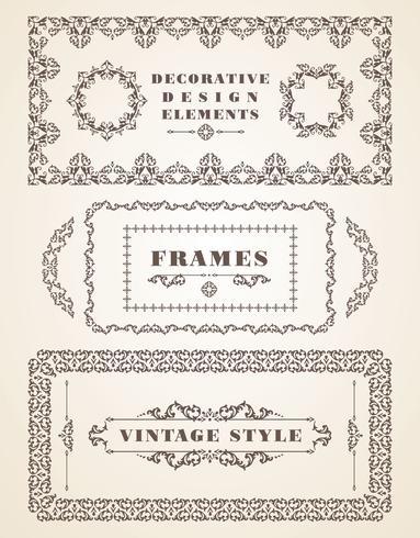 Conjunto de marcos y fronteras retro vintage. vector