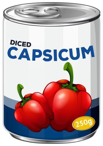 Eine Dose gewürfelte Paprika