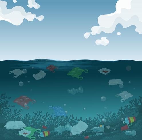 Uno sfondo di inquinamento marino vettore
