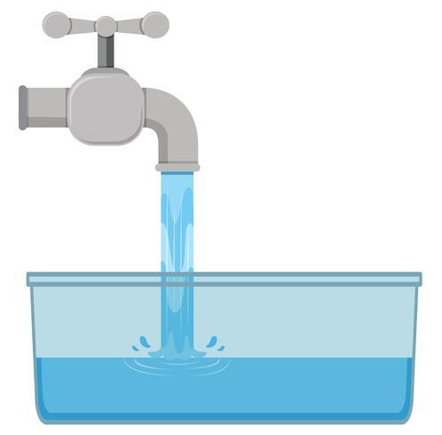 Onglet eau dans l'évier