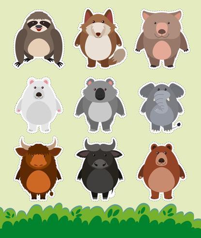 Sticker design with cute animals on grass