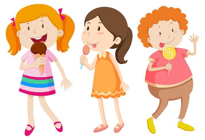 Meninas, comer, doce, branco, fundo