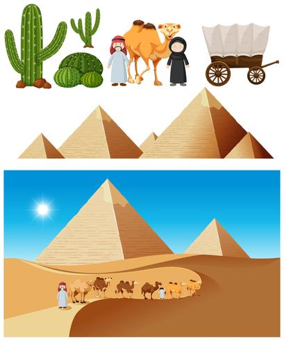 Ein Wüstenkarawanenelement und eine Landschaft