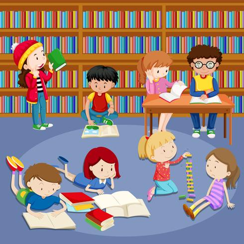 Many kids reading books in library vector