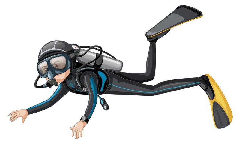 A scuba diver on white background vector