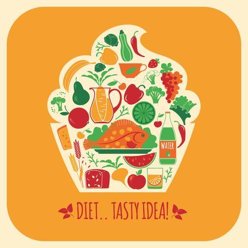 Ilustración de vector de comida sana.