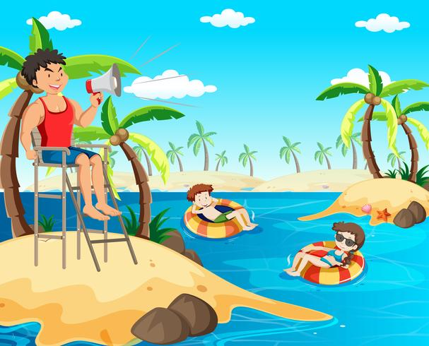 24b568e6870 Lifeguard on the Beach Holding Megaphone - Download Free Vector Art ...
