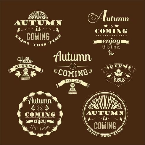 Ensemble d'étiquettes et de signes d'automne