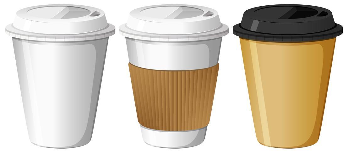 Tres diseños de vasos de papel. vector