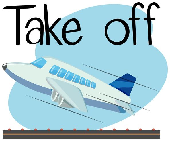 Wordcard da decollare con decollo dell'aereo