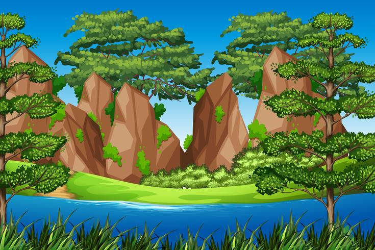Rock mountain in nature landscape - Download Free Vector Art, Stock Graphics & Images