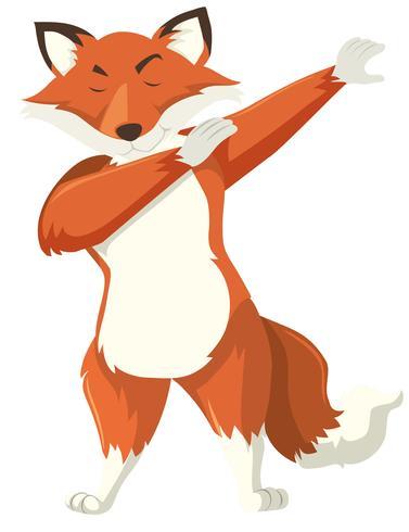 En räv dab på vit bakgrund