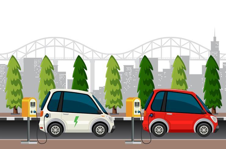 Carros elétricos, carregando cena