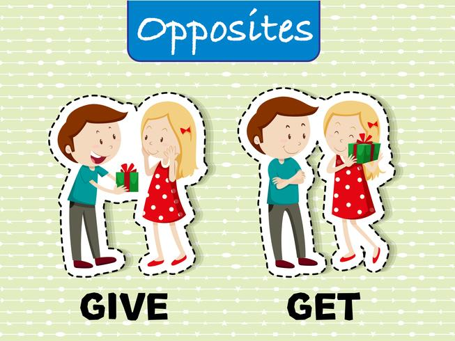 Palavras opostas para dar e receber
