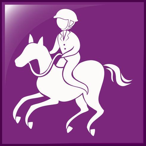 Icono de deporte para equestrain sobre fondo púrpura vector